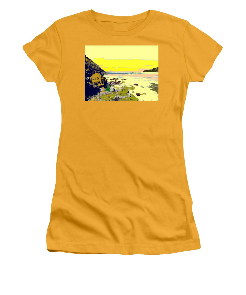 Beach Women's T-Shirt (Athletic Fit) featuring the photograph Rocky Beach by Ian MacDonald