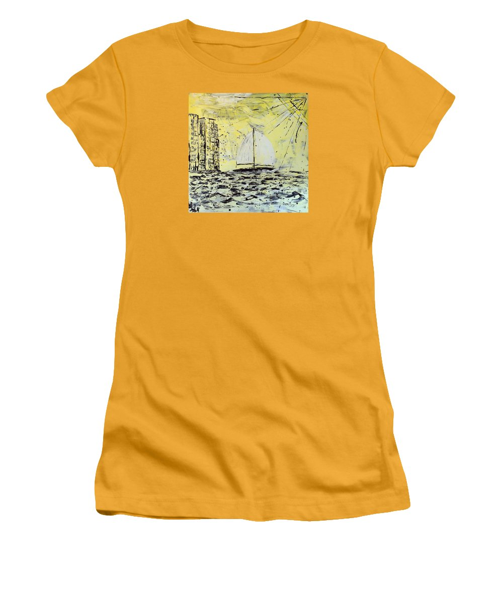 Sailboat With Sunray Women's T-Shirt (Junior Cut) featuring the painting Sail And Sunrays by J R Seymour