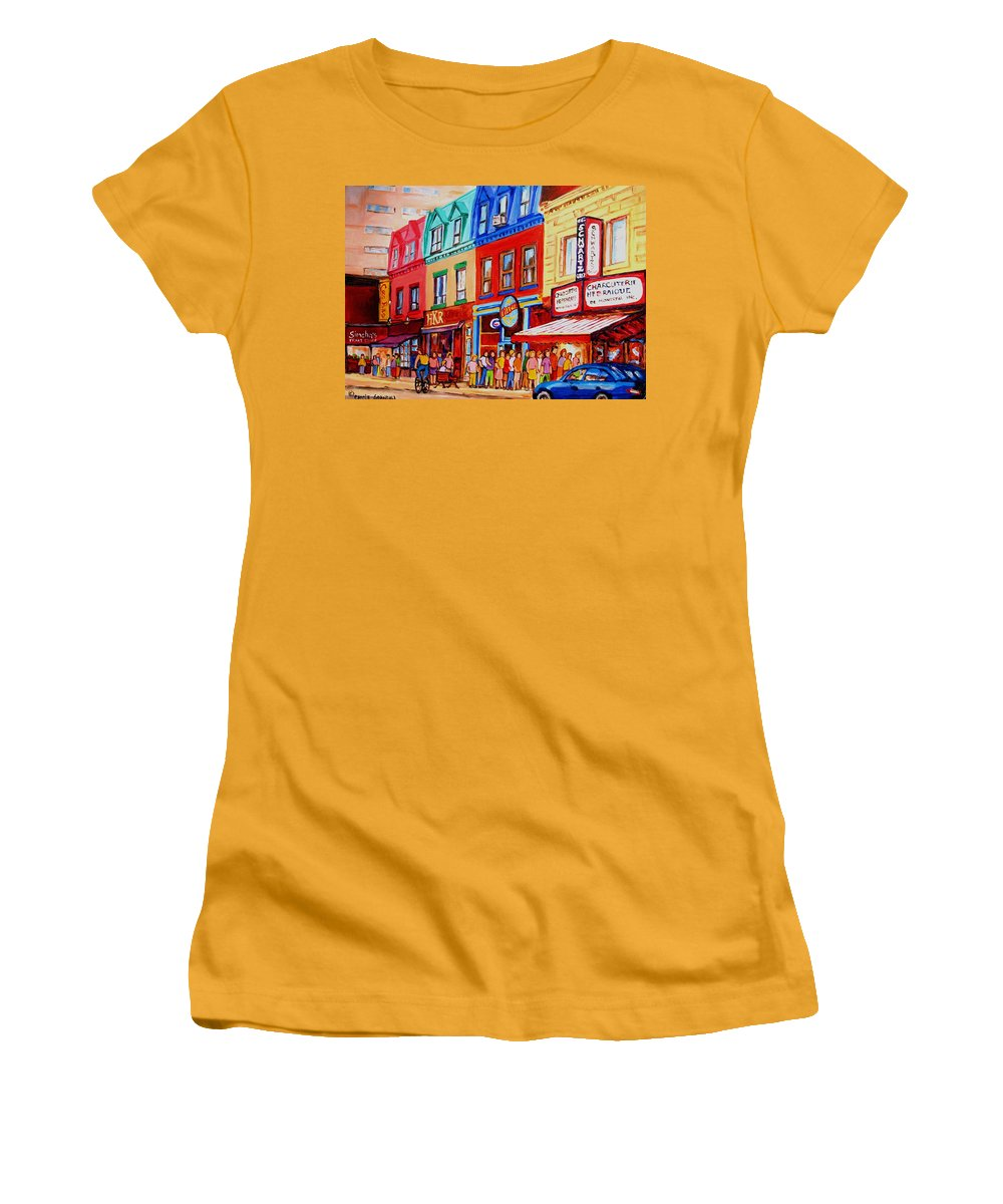Cityscape Women's T-Shirt (Athletic Fit) featuring the painting Schwartz Lineup With Simcha by Carole Spandau
