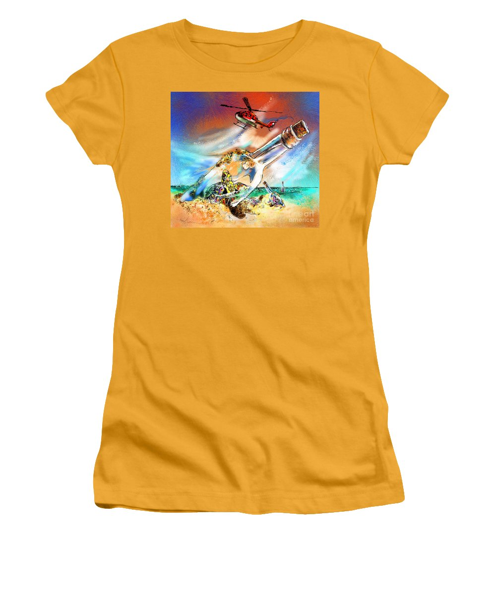 Turtles Women's T-Shirt (Athletic Fit) featuring the painting Sos To The World by Miki De Goodaboom
