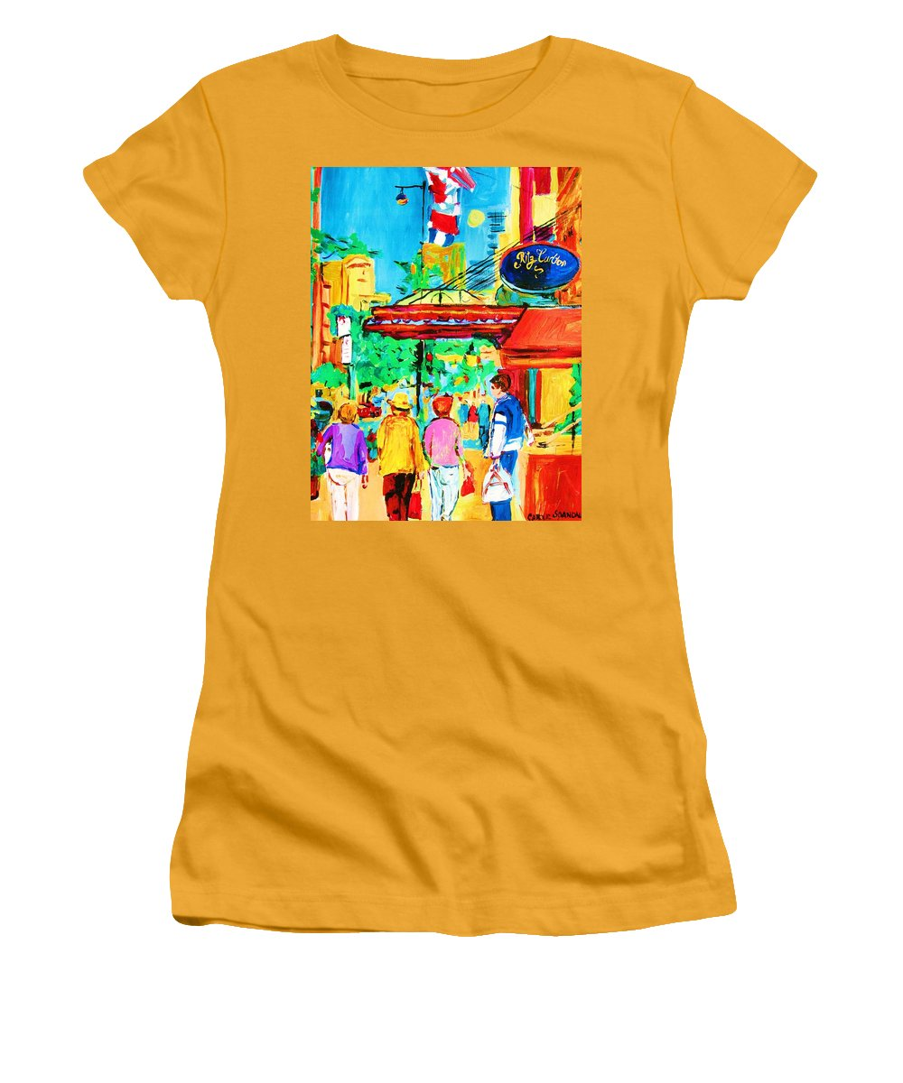 Paintings Of The Ritz Carlton On Sherbrooke Street Montreal Art Women's T-Shirt (Athletic Fit) featuring the painting Springtime Stroll by Carole Spandau