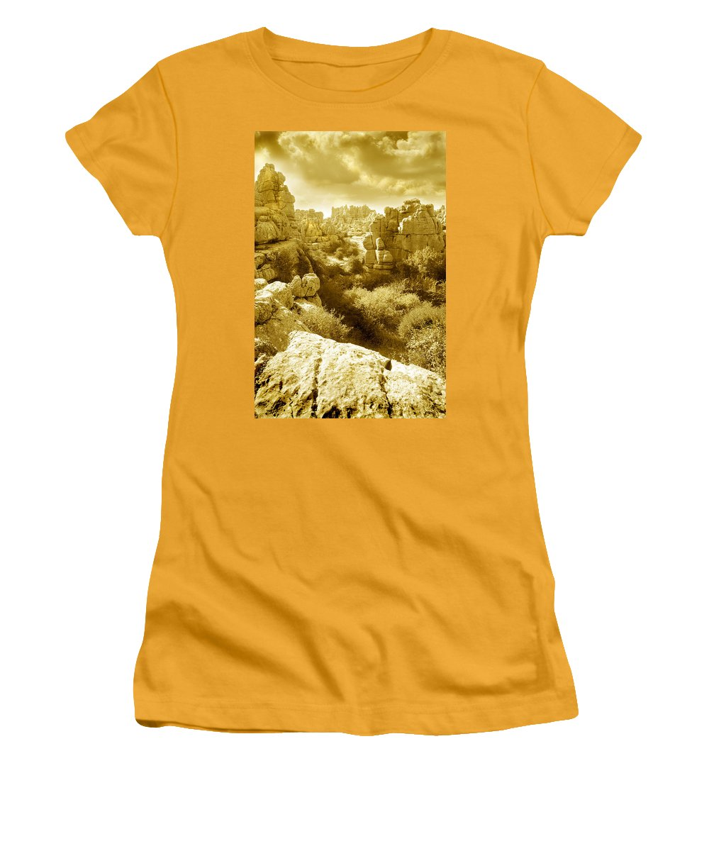 Rock Women's T-Shirt (Athletic Fit) featuring the photograph Strange Rock Formations At El Torcal Near Antequera Spain by Mal Bray