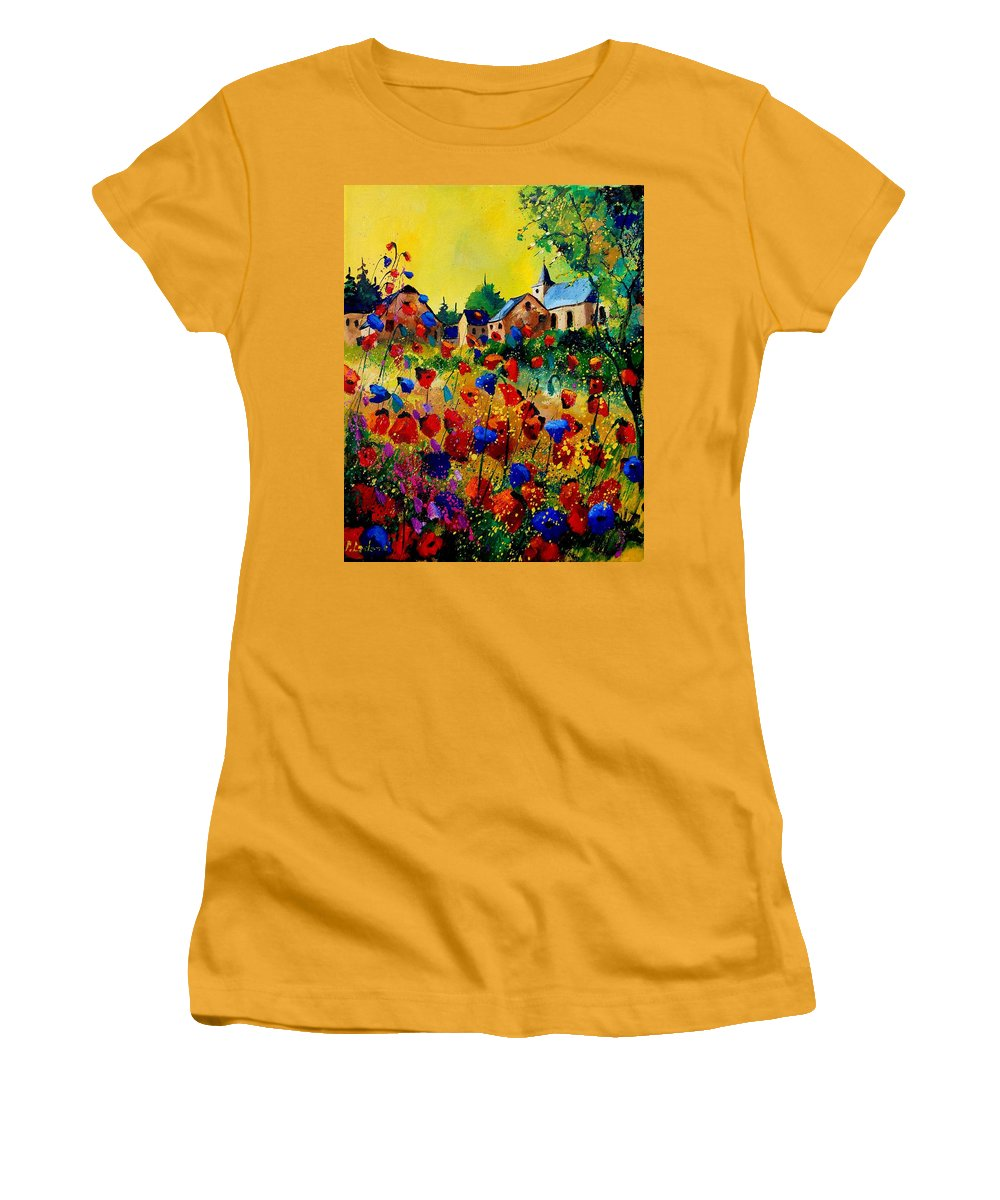 Poppy Women's T-Shirt (Athletic Fit) featuring the painting Summer In Sosoye by Pol Ledent