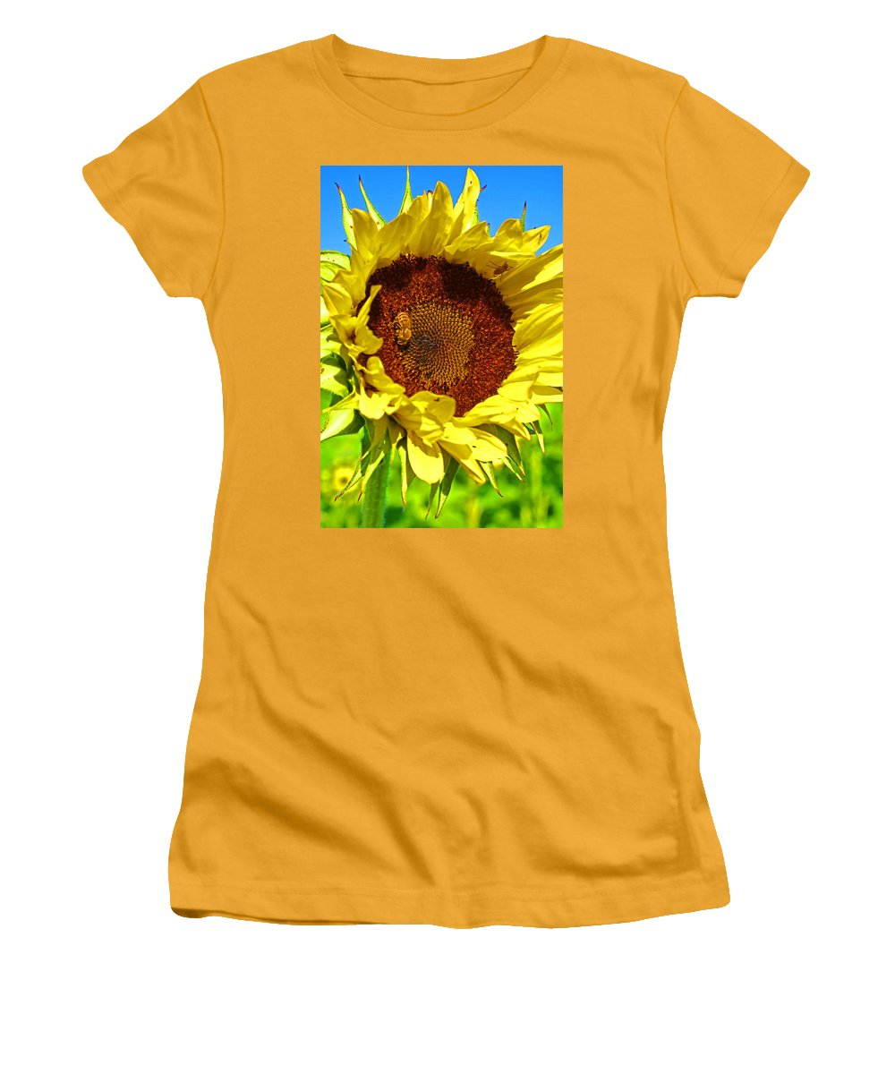 Pastoral Women's T-Shirt (Athletic Fit) featuring the photograph Sunflower And Bee by Heather Coen