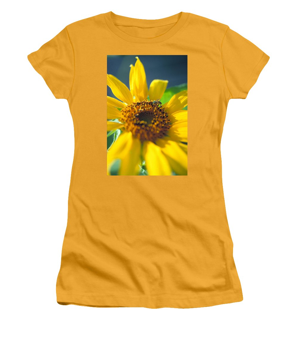 Sunflower Women's T-Shirt (Athletic Fit) featuring the photograph Sunflower And Bee Number Two by Thomas Firak