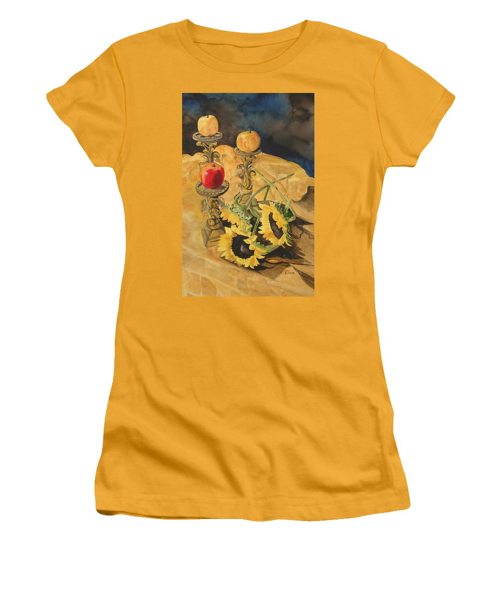 Still Life Women's T-Shirt (Athletic Fit) featuring the painting Sunflowers And Apples by Jean Blackmer