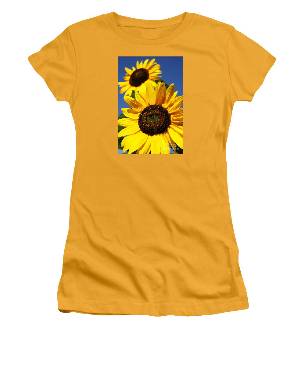 Sunflowers Women's T-Shirt (Athletic Fit) featuring the photograph Sunflowers by Gaspar Avila