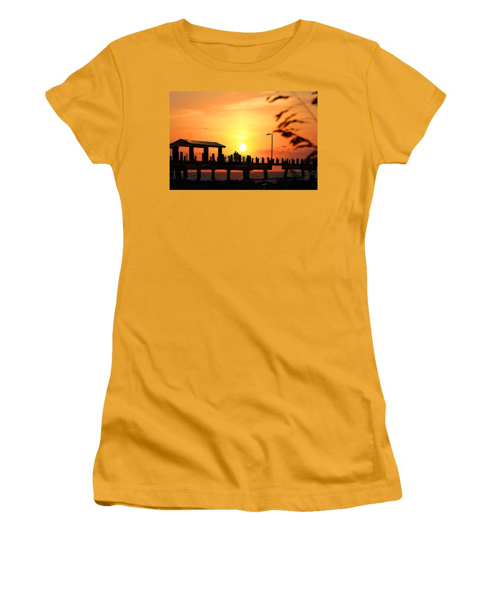 Fort De Soto Women's T-Shirt (Athletic Fit) featuring the photograph Sunset At Fort De Soto Fishing Pier Pinellas County Park St. Petersburg Florida by Mal Bray