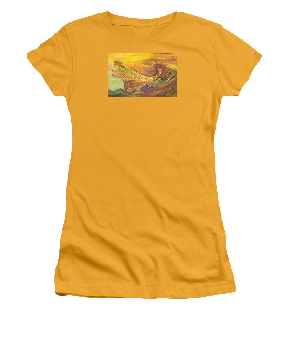 Autumn Women's T-Shirt (Athletic Fit) featuring the painting The Autumn Music Wind by Karina Ishkhanova