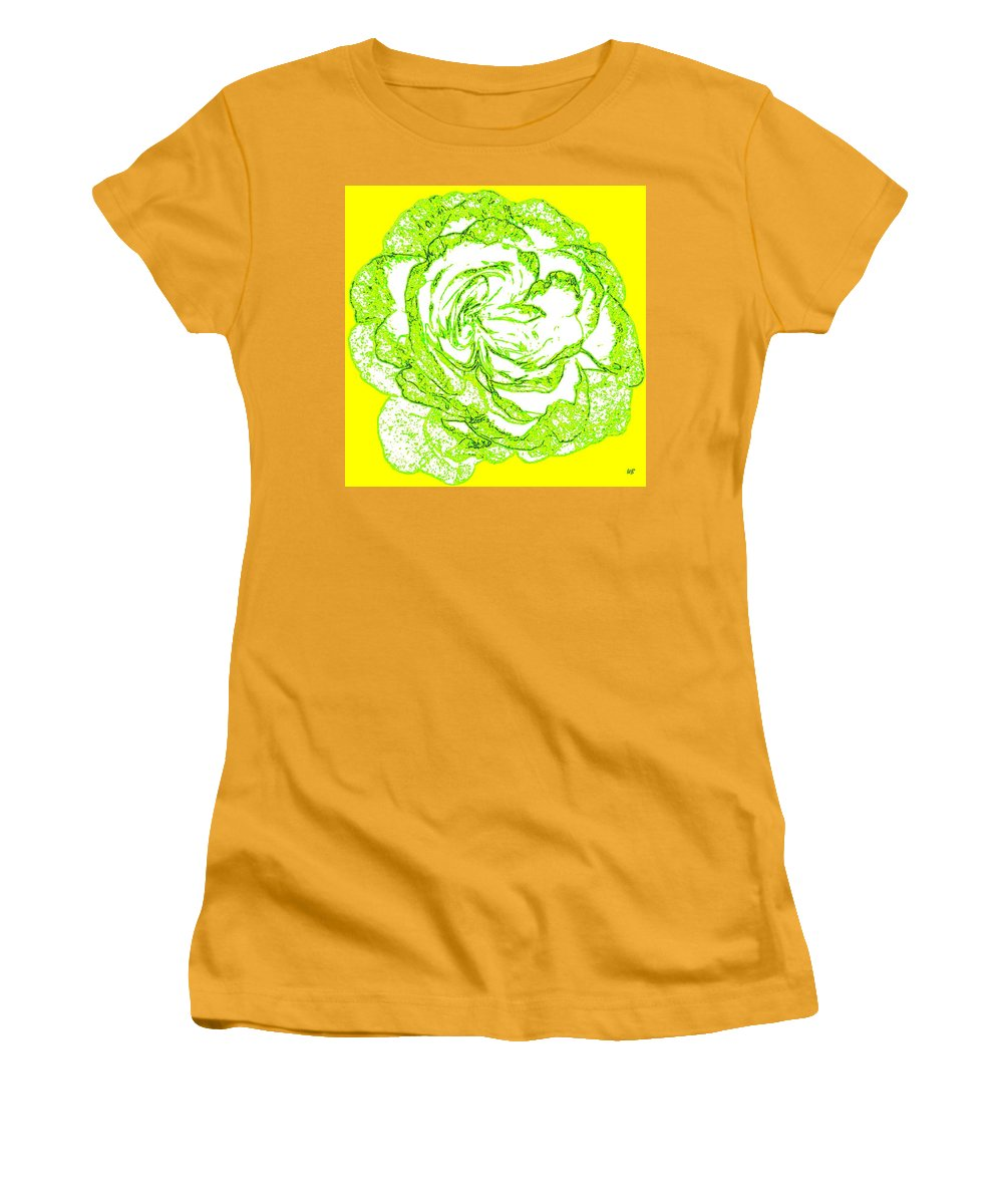 Abstract Women's T-Shirt (Athletic Fit) featuring the digital art The Cabbage Rose by Will Borden