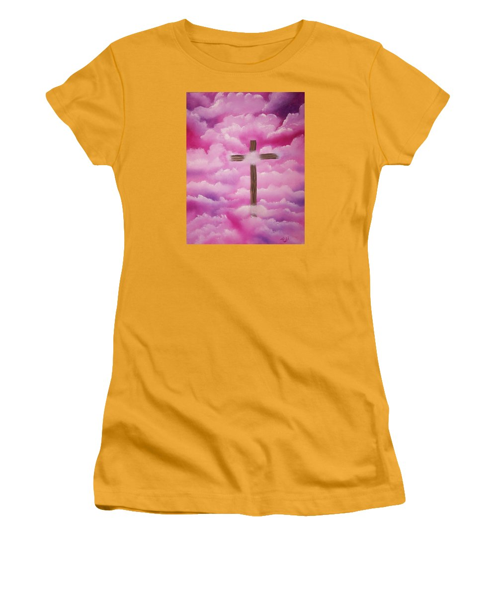 Cross Artwork Women's T-Shirt (Athletic Fit) featuring the painting The Cross Of Redemption by Laurie Kidd