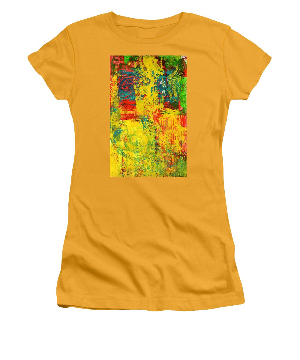 Abstract Women's T-Shirt (Athletic Fit) featuring the painting The Power Within by Wayne Potrafka