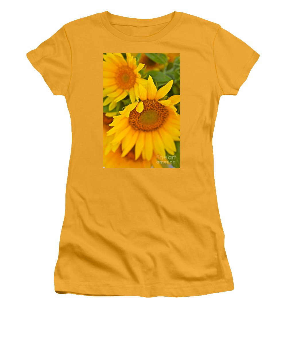 Yellow Women's T-Shirt (Athletic Fit) featuring the photograph Three Sunflowers by Nadine Rippelmeyer