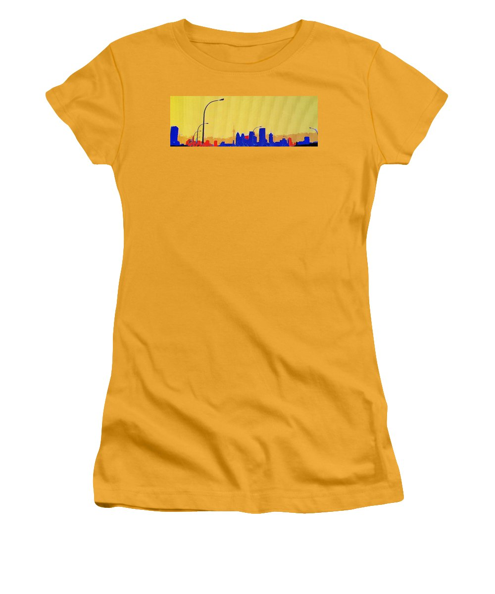 Toronto Women's T-Shirt (Athletic Fit) featuring the photograph Toronto Lemon Skyline by Ian MacDonald
