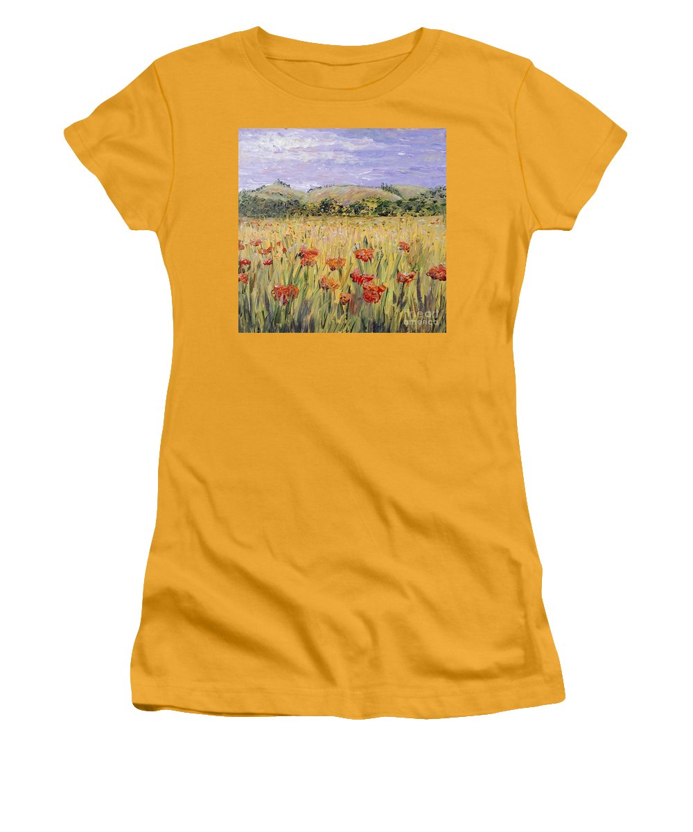 Poppies Women's T-Shirt (Athletic Fit) featuring the painting Tuscany Poppies by Nadine Rippelmeyer