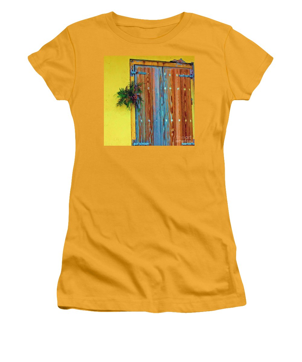Door Women's T-Shirt (Athletic Fit) featuring the photograph Twisted Root by Debbi Granruth