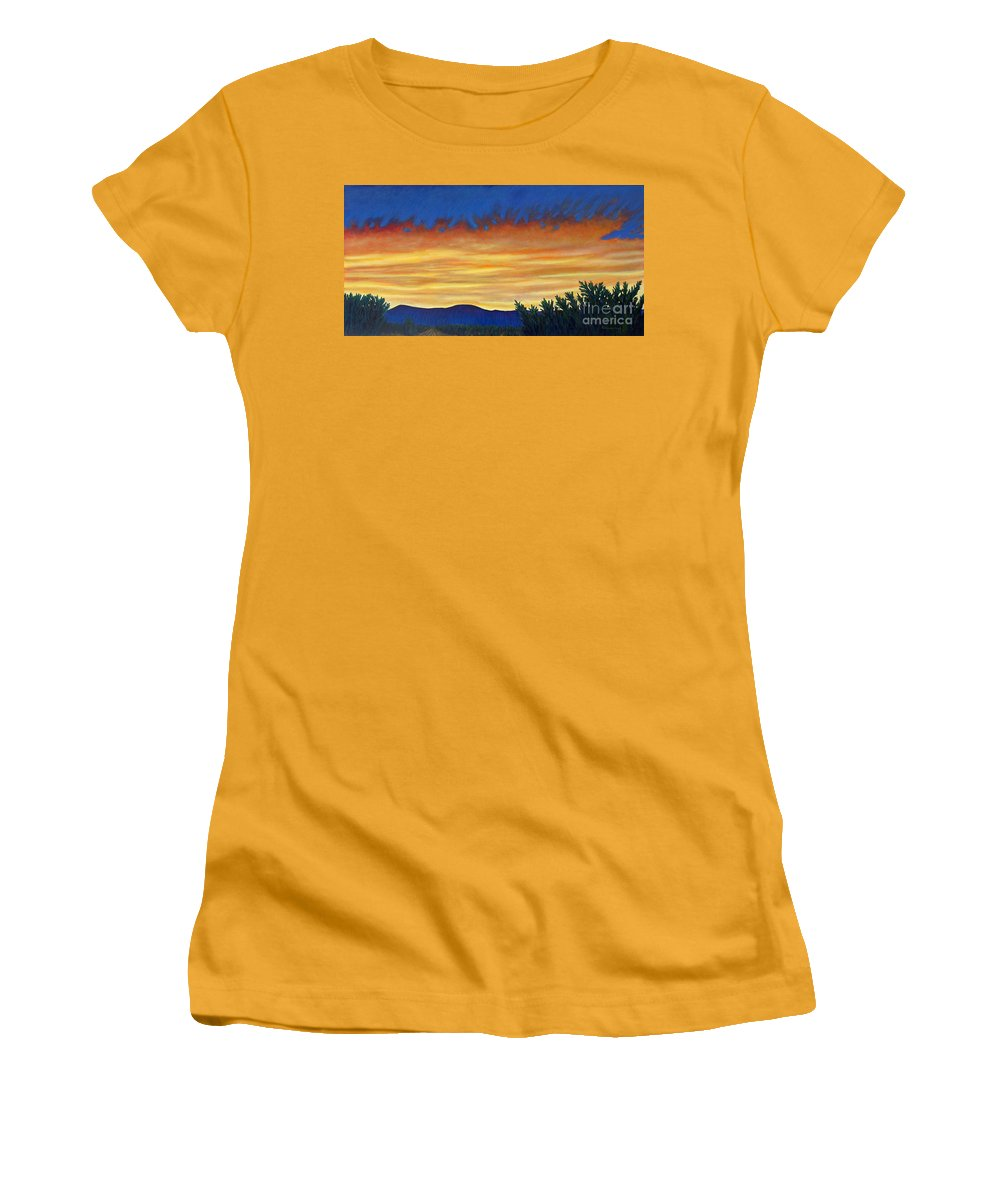 Sunset Women's T-Shirt (Athletic Fit) featuring the painting Winter Sunset In El Dorado by Brian Commerford