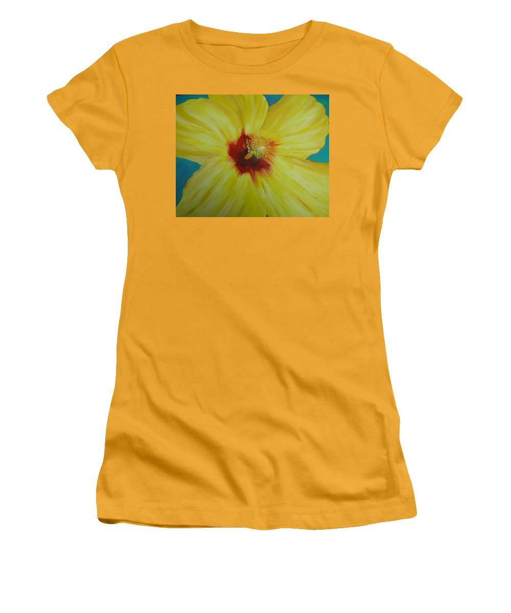 Flower Women's T-Shirt (Athletic Fit) featuring the print Yellow Hibiscus by Melinda Etzold