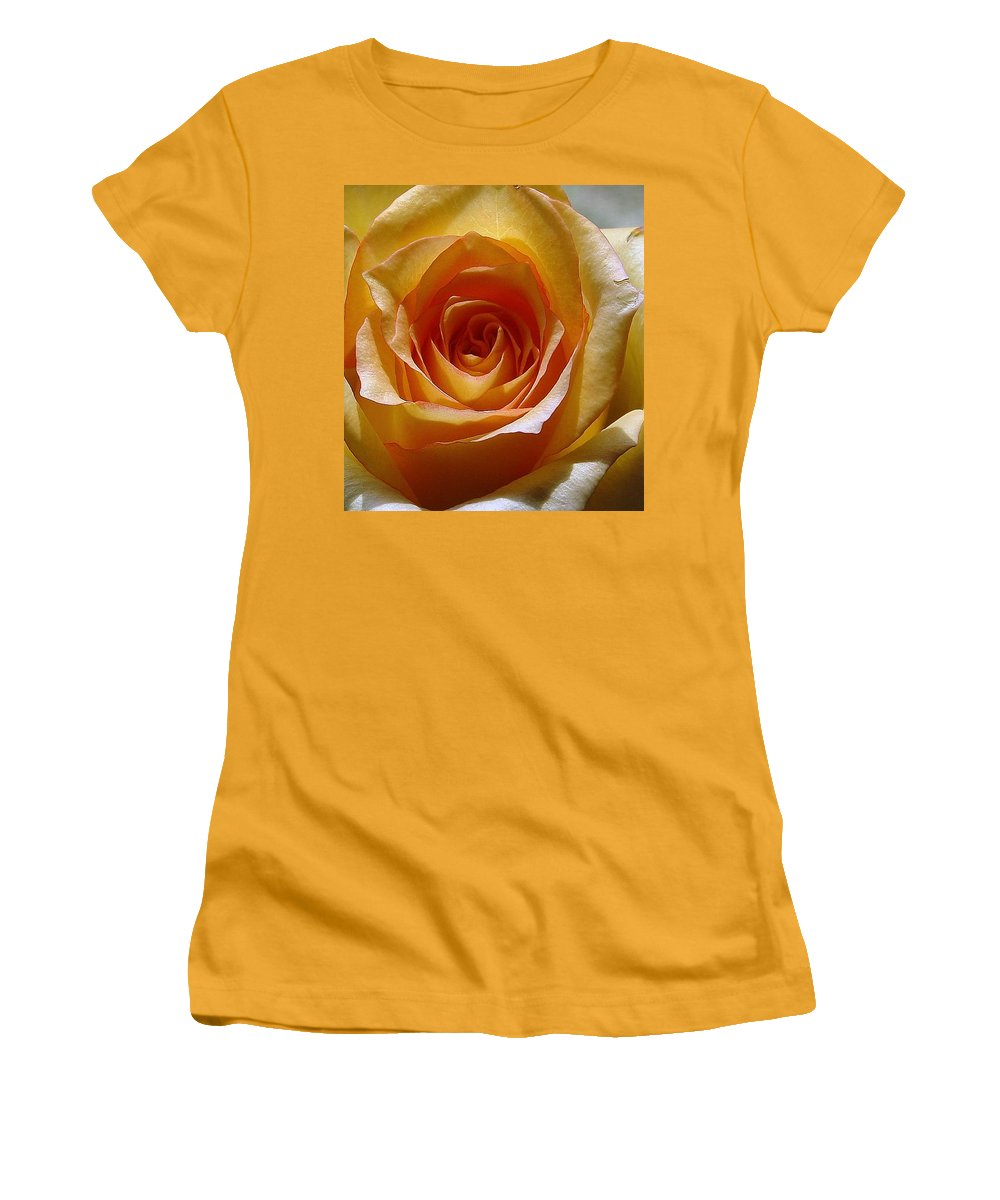 Rose Yellow Women's T-Shirt (Athletic Fit) featuring the photograph Yellow Rose by Luciana Seymour
