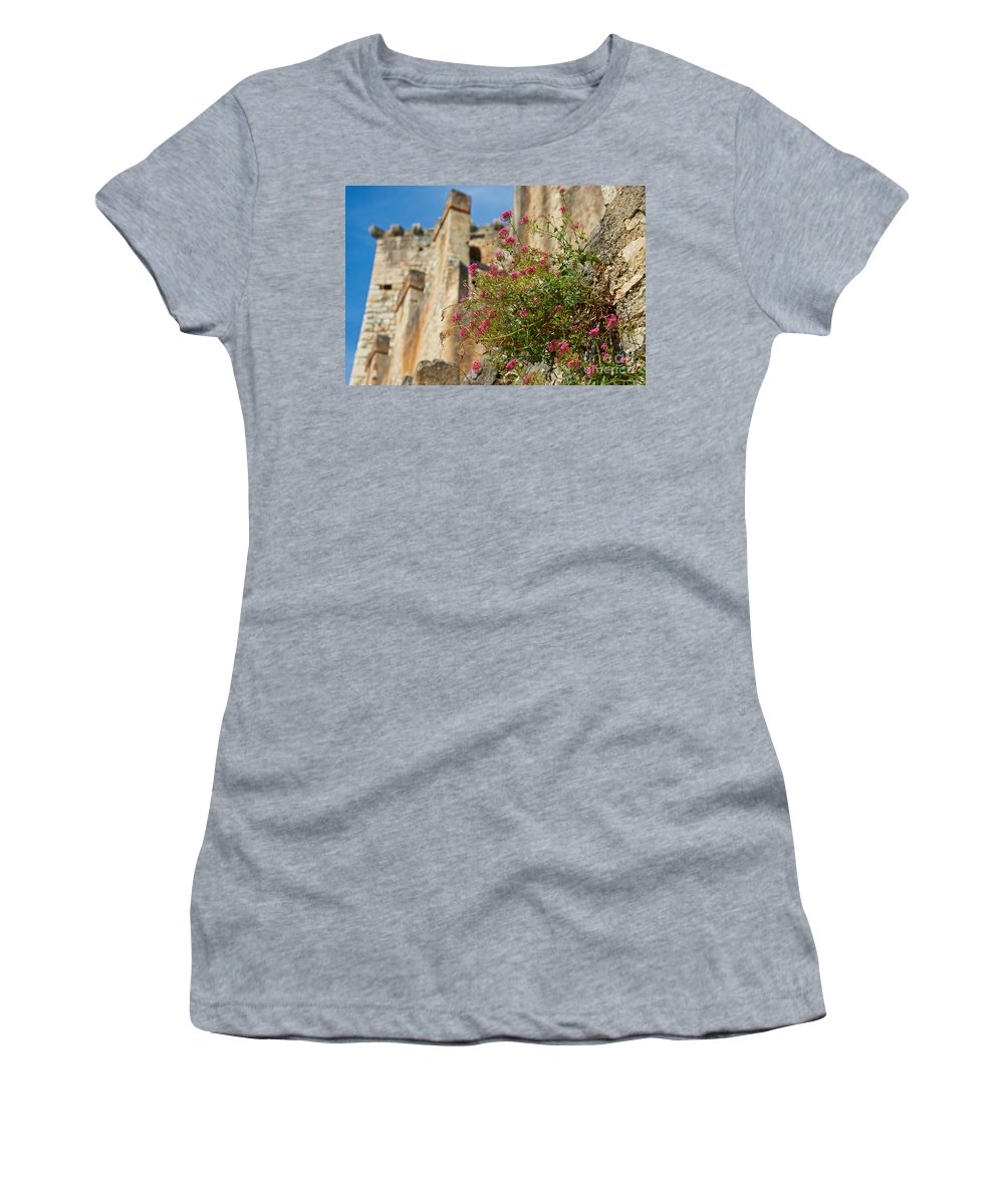 Detail Women's T-Shirt (Athletic Fit) featuring the photograph Italian Ruins In The Near Of The Lake Garda by Nick Biemans