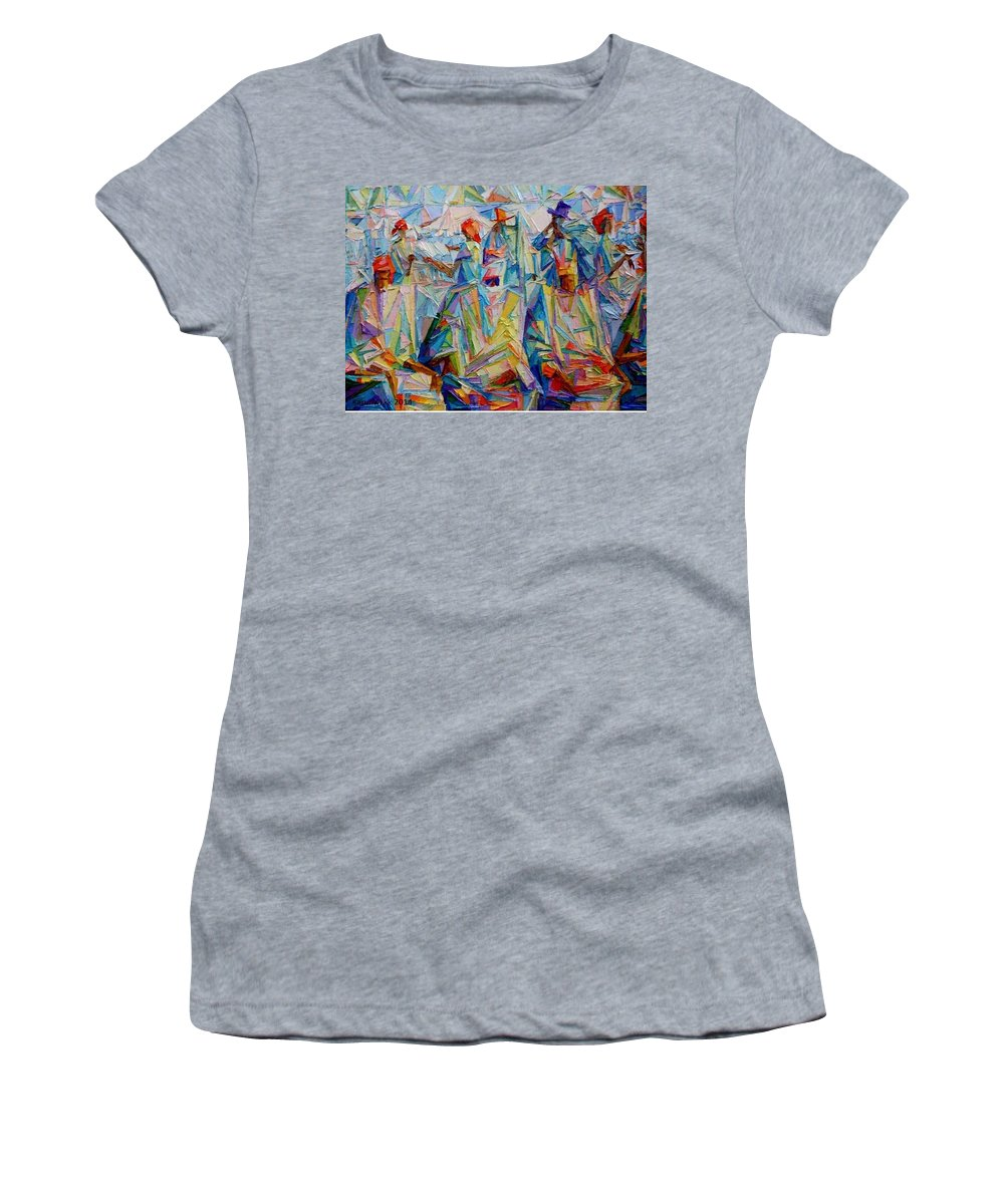 Yoruba King Women's T-Shirt featuring the painting National Conference by Kayode Karunwi