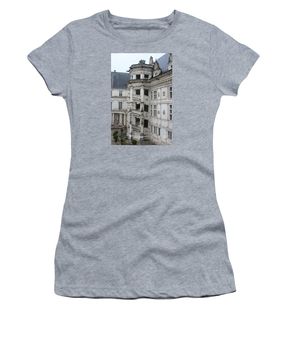 Stairs Women's T-Shirt (Athletic Fit) featuring the photograph Spiral Staircase In The Francois I Wing - Chateau Blois by Christiane Schulze Art And Photography