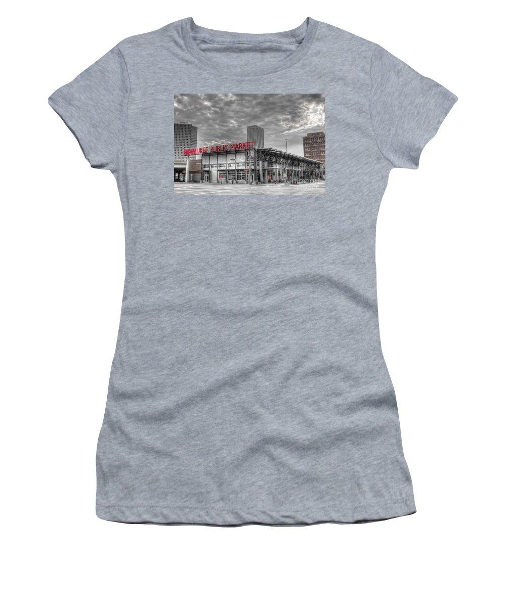Milwaukee Women's T-Shirt featuring the photograph 0038 Milwaukee Public Market by Steve Sturgill