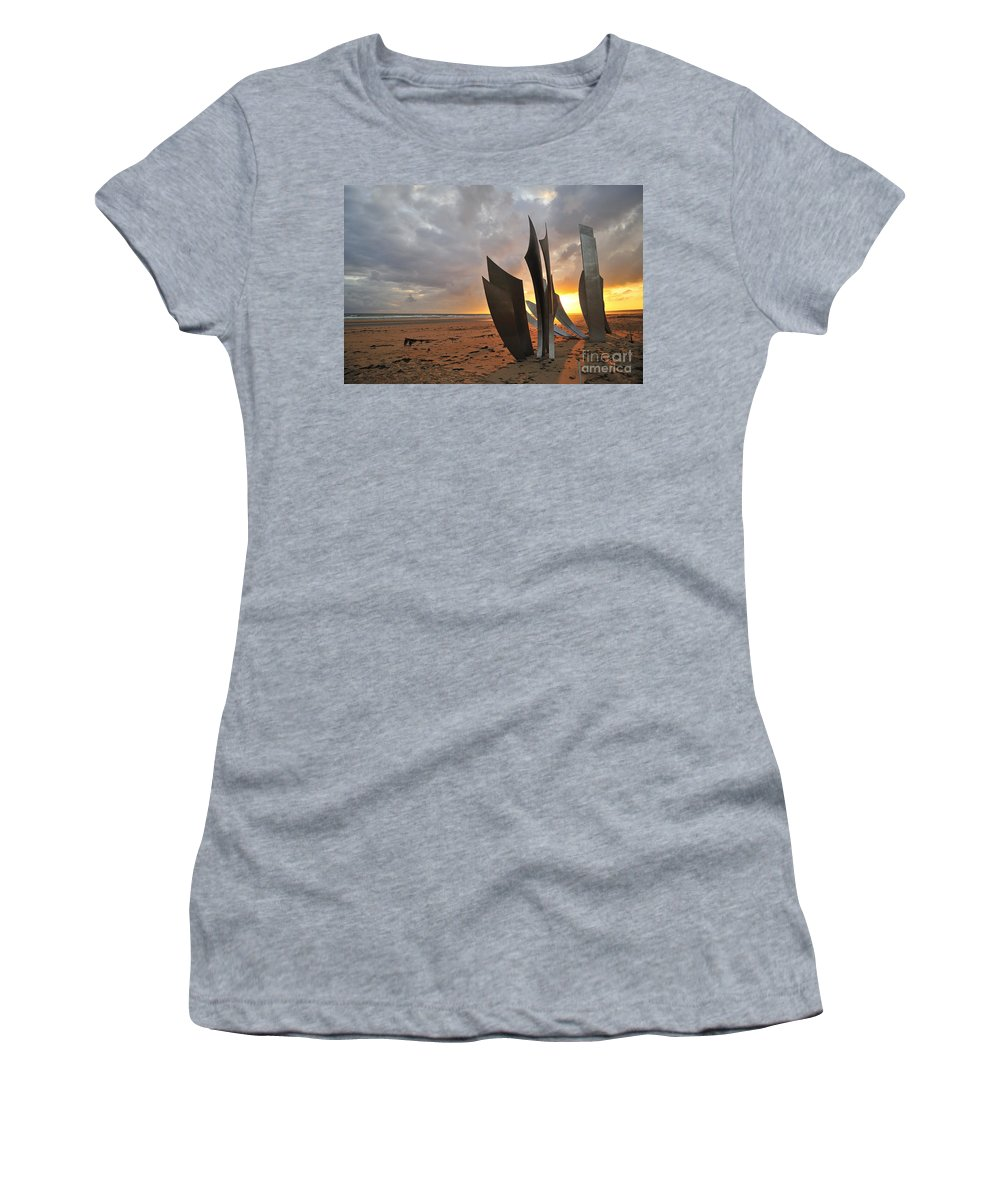 Omaha Beach Women's T-Shirt featuring the photograph 080911p181 by Arterra Picture Library