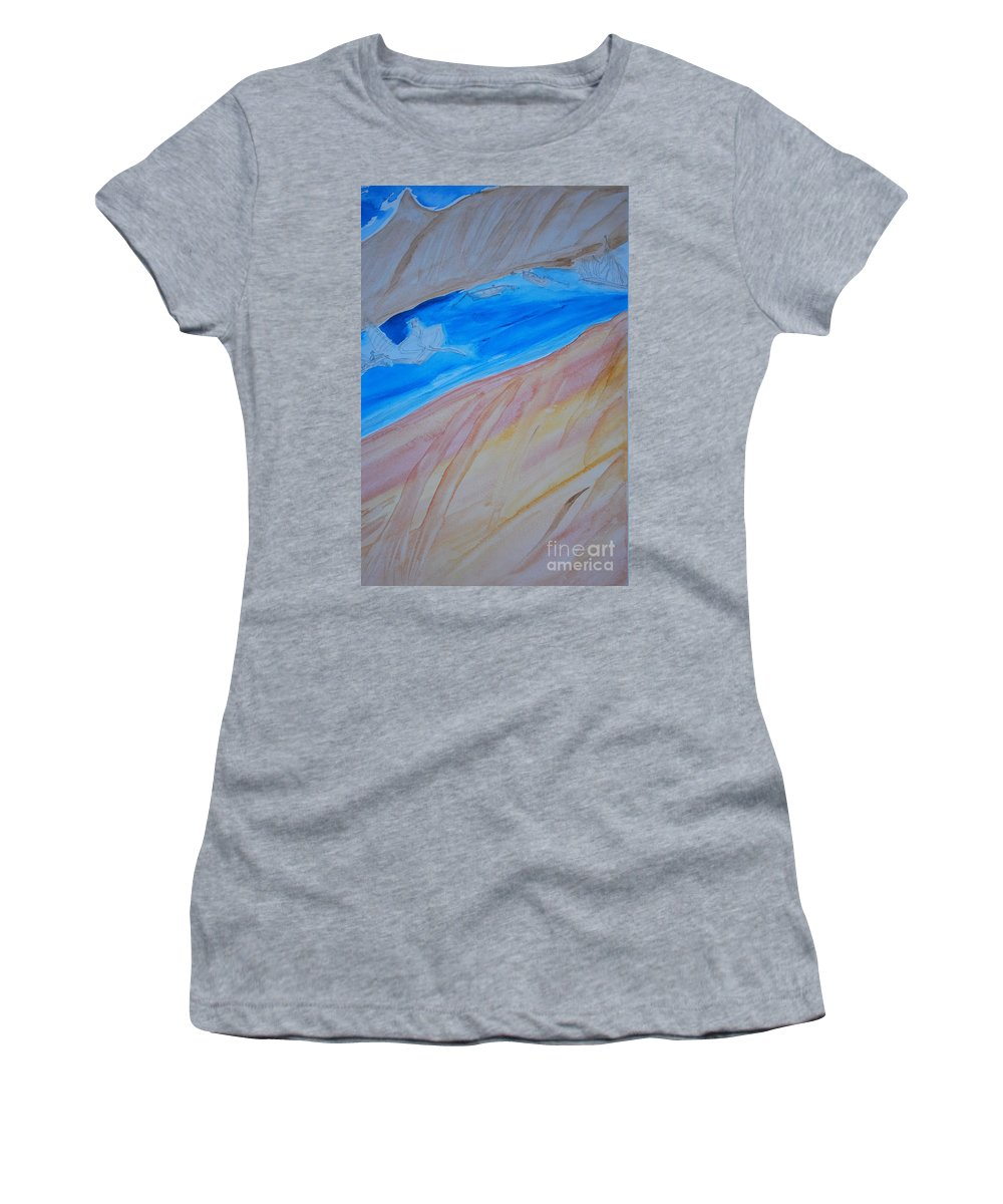 Sailors Crossing A Sea In Between Many Lands. Women's T-Shirt featuring the painting Across A Sea. by Douglas Friedman