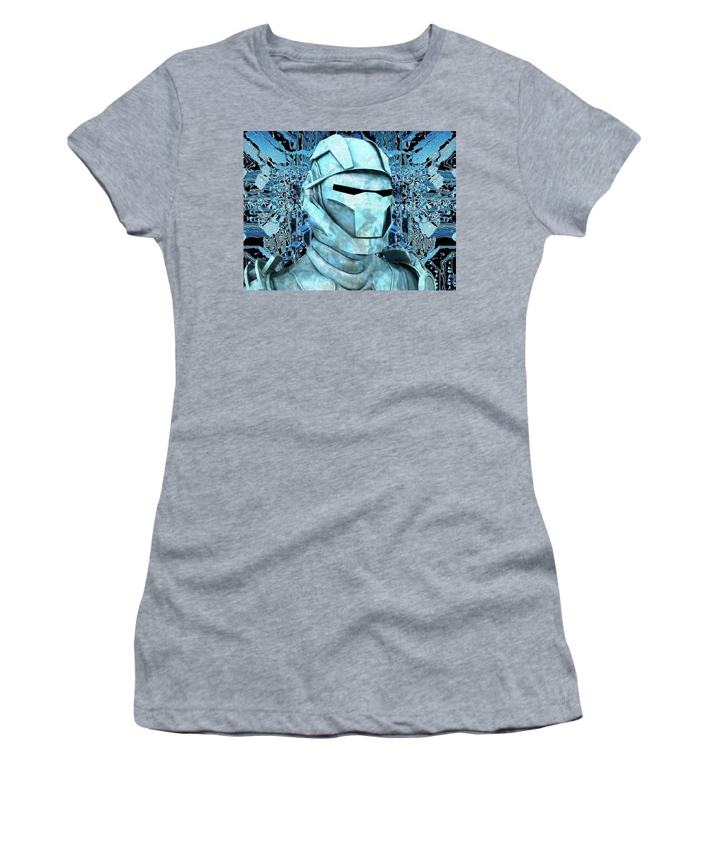 Android Women's T-Shirt featuring the digital art Android Reveals Internal Technology Of Their Electrical Circuit by Nenad Cerovic