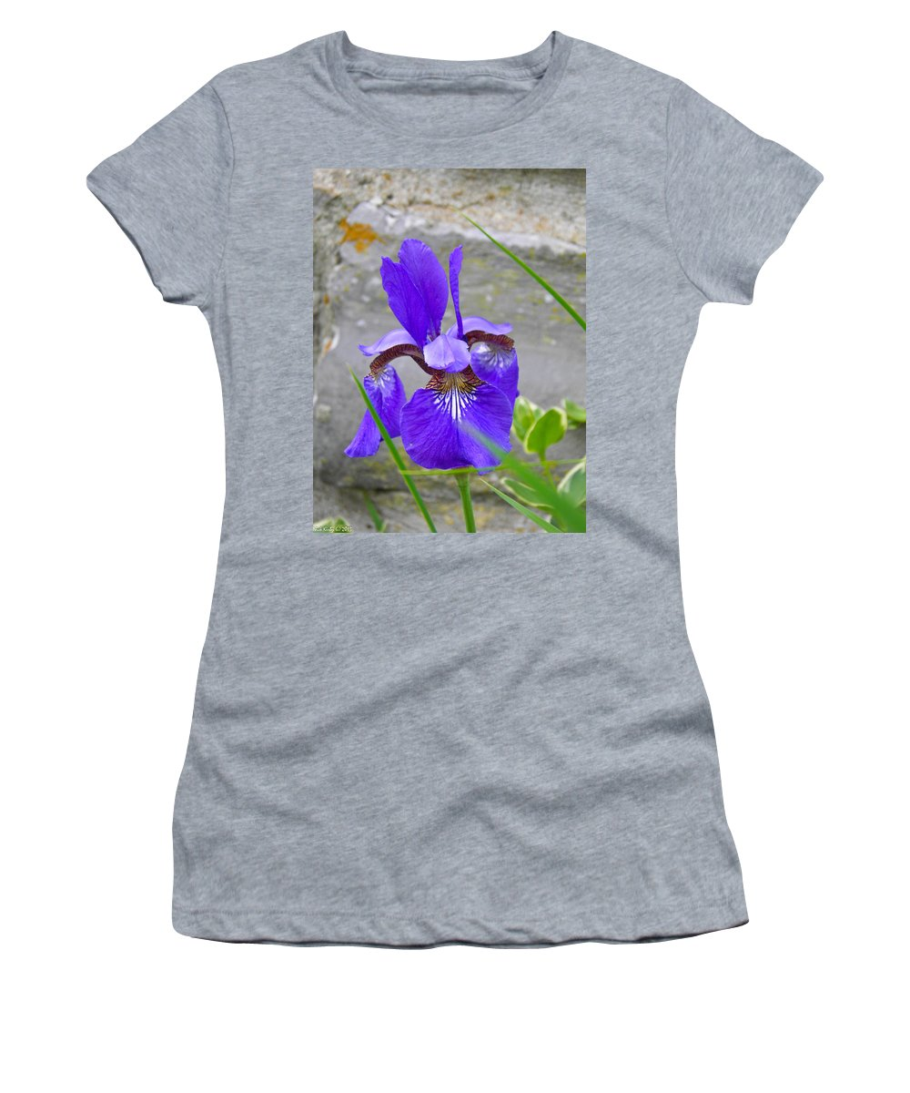 Flower Women's T-Shirt (Athletic Fit) featuring the photograph Blue Iris by Nick Kirby