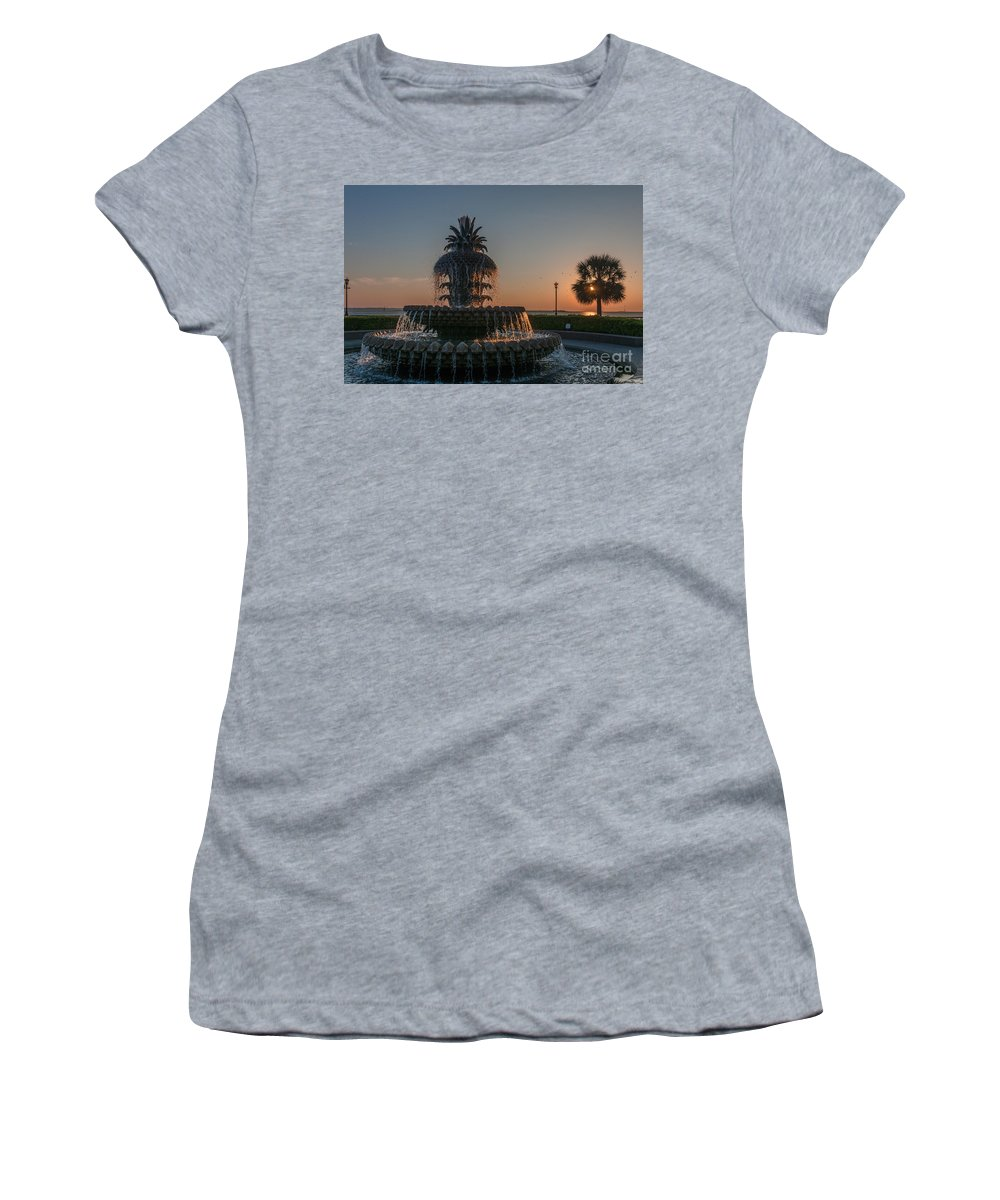 Pineapple Fountain Women's T-Shirt featuring the photograph Pineapple Fountain Charleston Sc Sunrise by Dale Powell