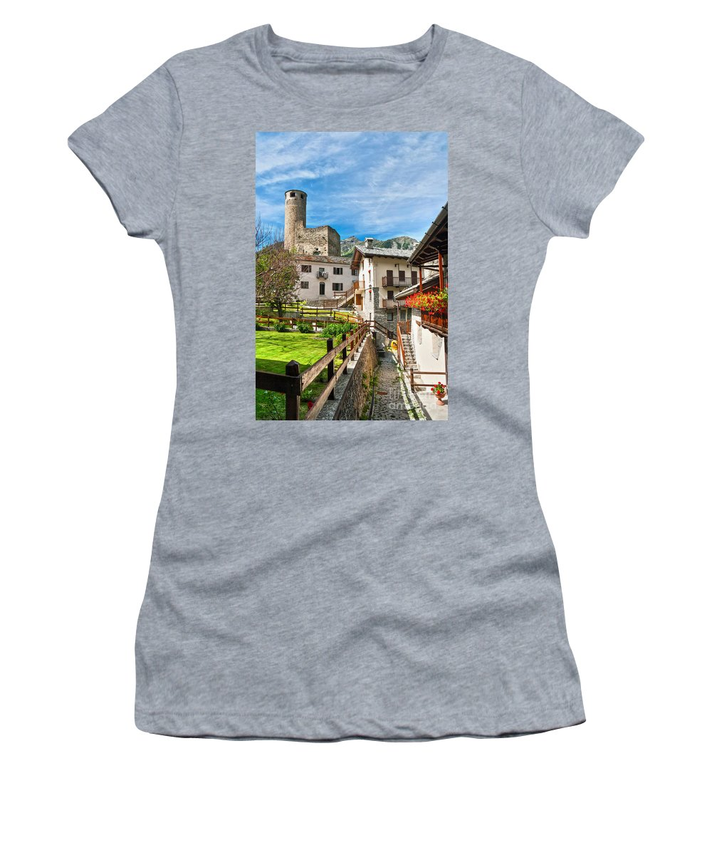 Alps Women's T-Shirt featuring the photograph Chatelard Village With Castle by Antonio Scarpi