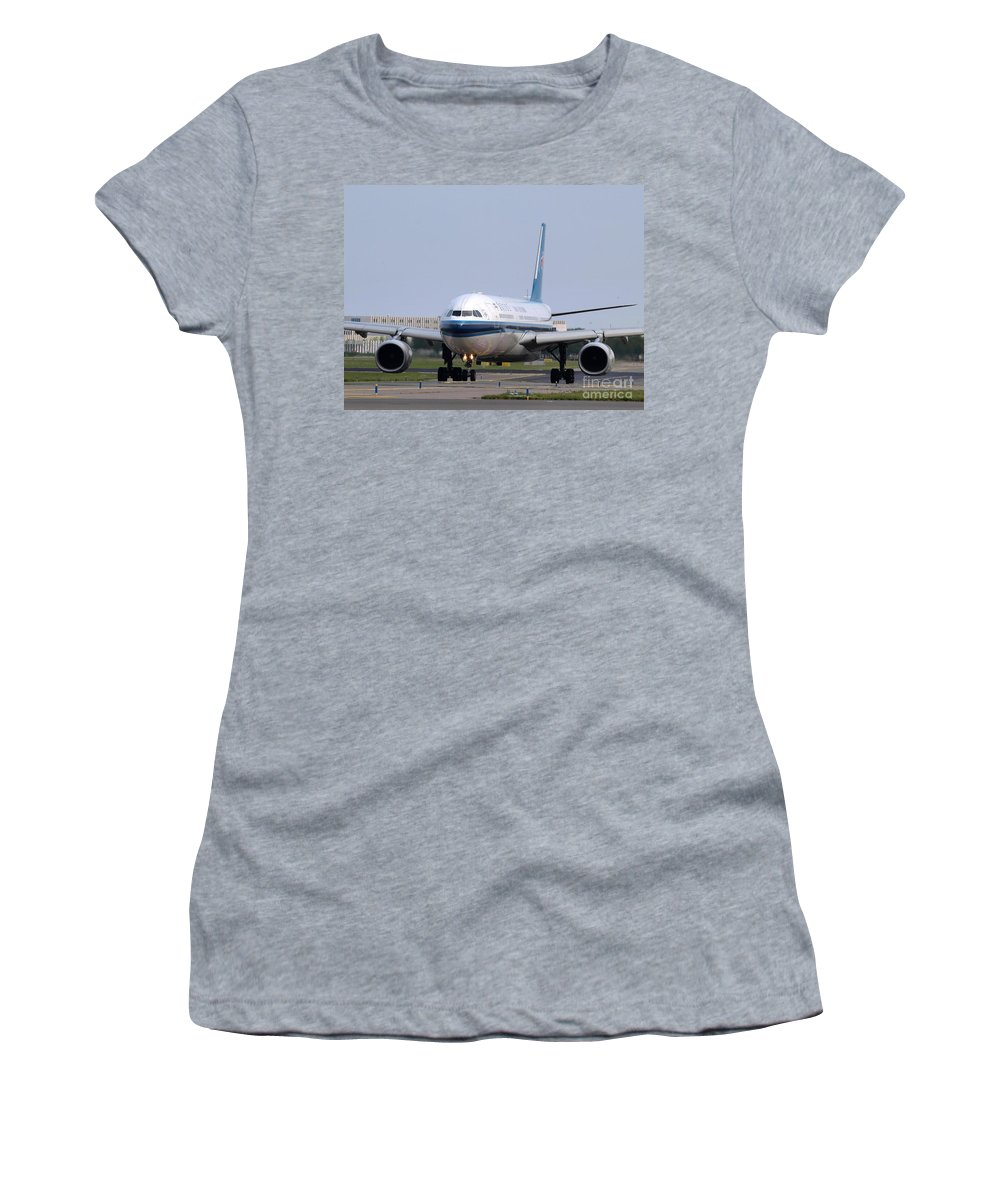 737 Women's T-Shirt (Athletic Fit) featuring the photograph China Southern Airlines Airbus A330 by Paul Fearn