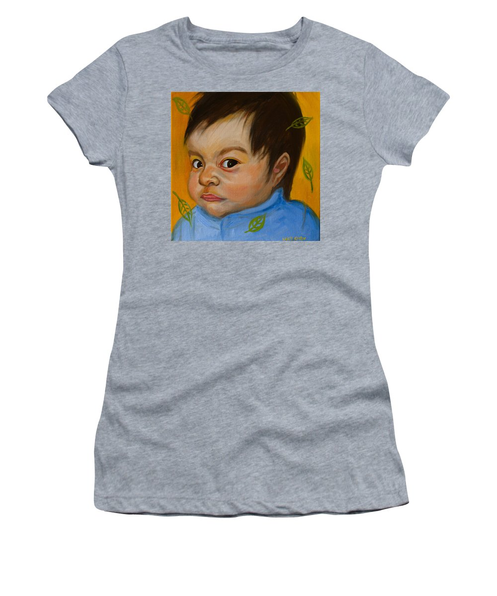 Child Portrait Women's T-Shirt featuring the painting Chloe 2 by Lucy Chen