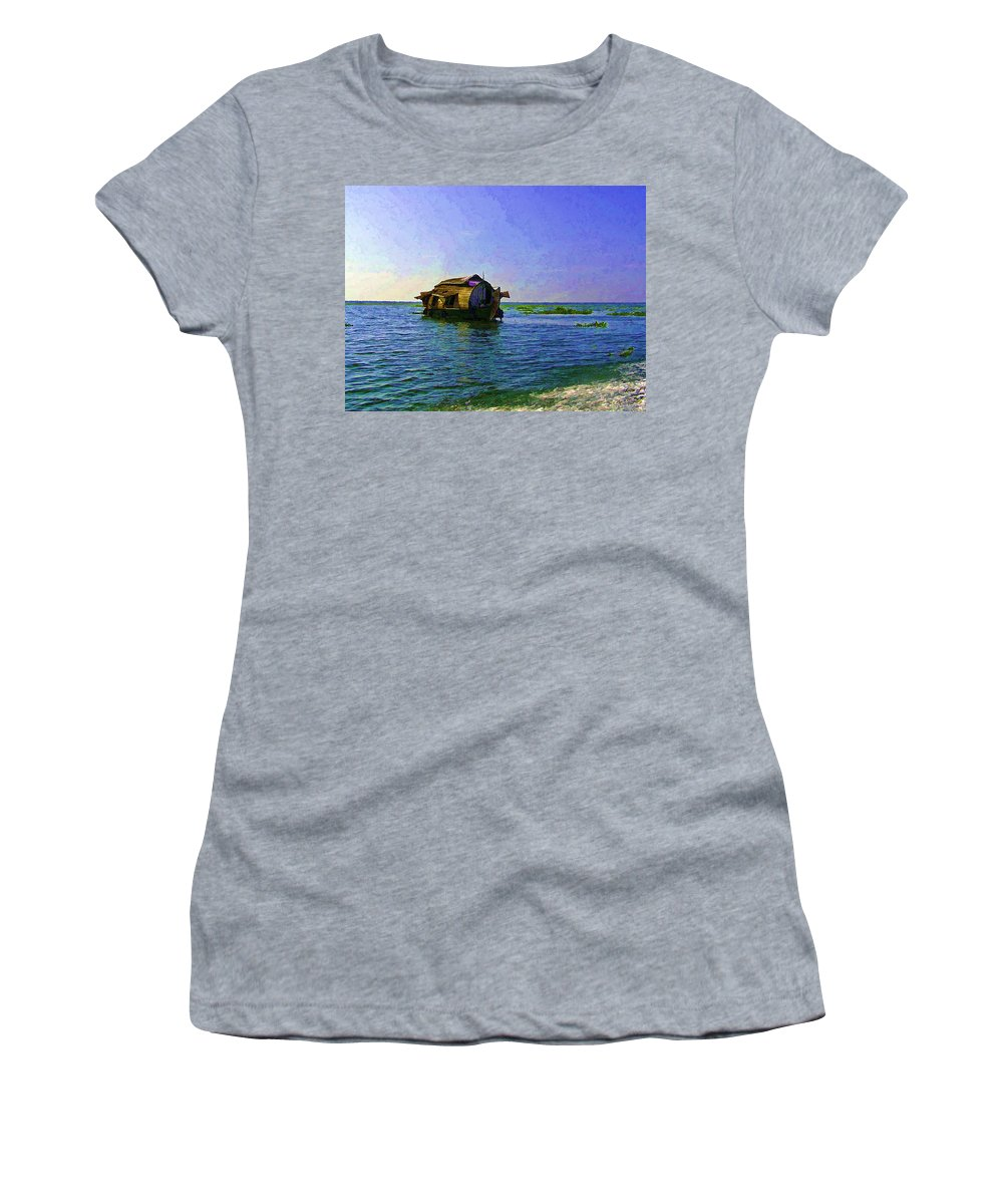 Backwater Women's T-Shirt featuring the photograph Digital Oil Painting - A Houseboat Moving Placidly Through A Coastal Lagoon In Alleppey by Ashish Agarwal