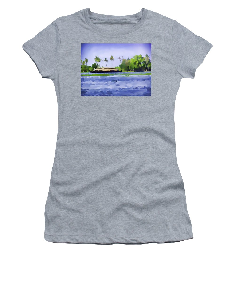Backwater Women's T-Shirt featuring the digital art Digital Oil Painting - A Houseboat On Its Quiet Sojourn Through The Backwaters Of Allep by Ashish Agarwal
