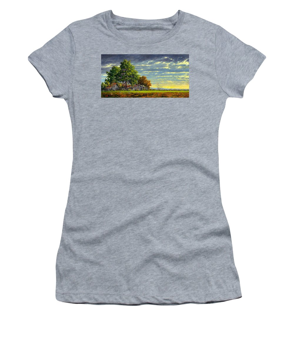 Landscape Women's T-Shirt featuring the painting Dusk by Jim Gola