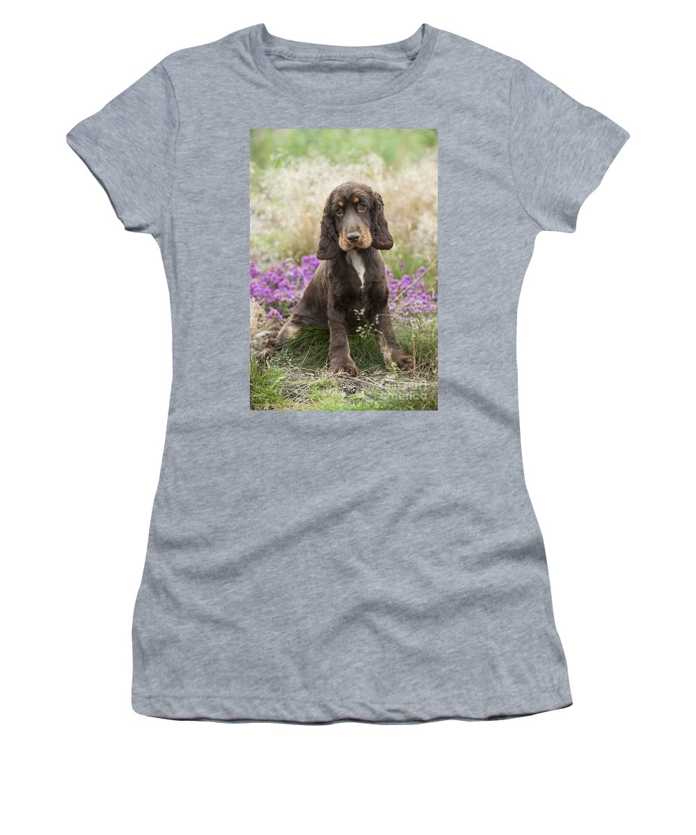 English Cocker Women's T-Shirt (Athletic Fit) featuring the photograph English Cocker Spaniel Puppy by John Daniels