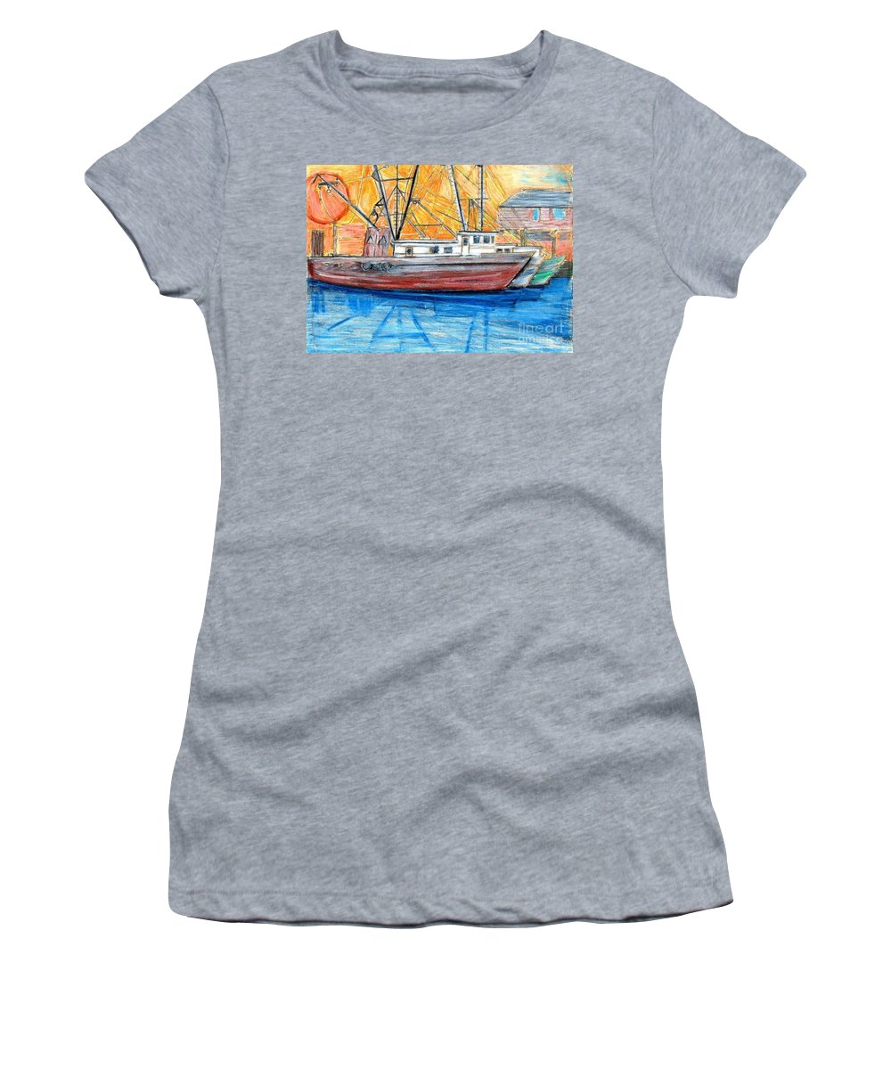 Fishing Women's T-Shirt (Athletic Fit) featuring the drawing Fishing Trawler by Eric Schiabor
