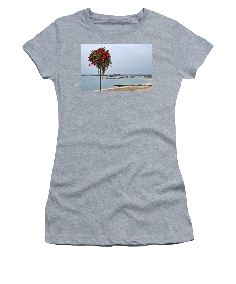 Lyme Regis Women's T-Shirt featuring the photograph Flowers Along The Seafront by Susie Peek