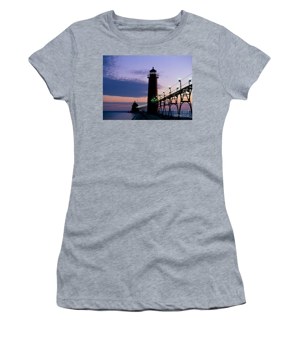Lighthouse Women's T-Shirt (Athletic Fit) featuring the photograph Grand Haven Lighthouse by David Davis