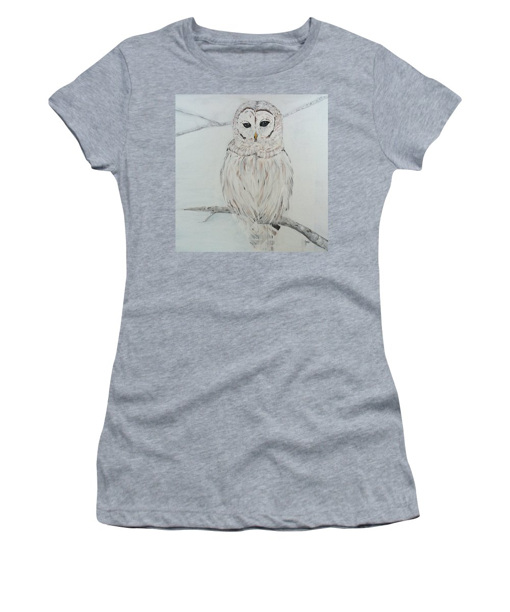 Owl Women's T-Shirt featuring the painting Gufo Bianco by Jen Venuti