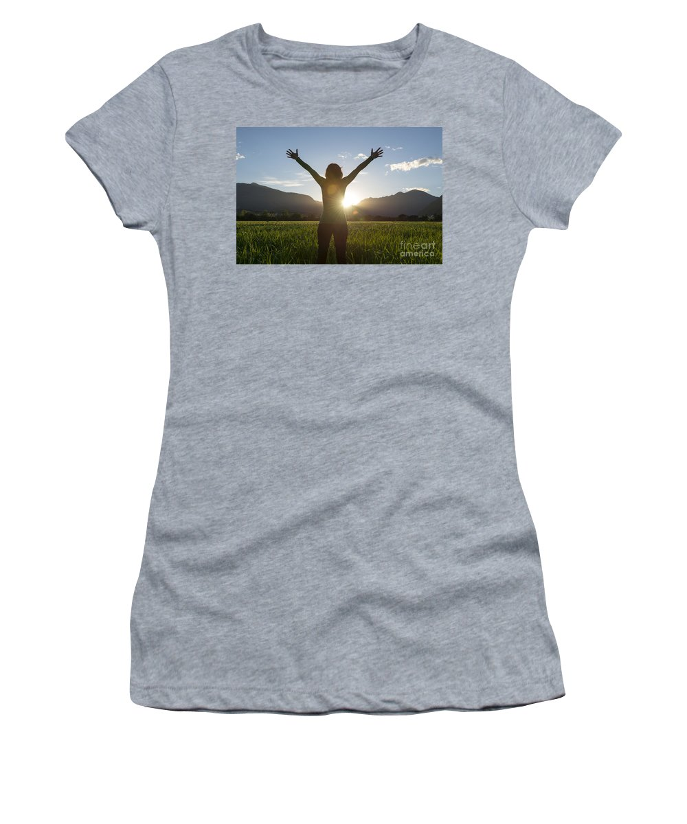 Woman Women's T-Shirt (Athletic Fit) featuring the photograph Happy Woman by Mats Silvan