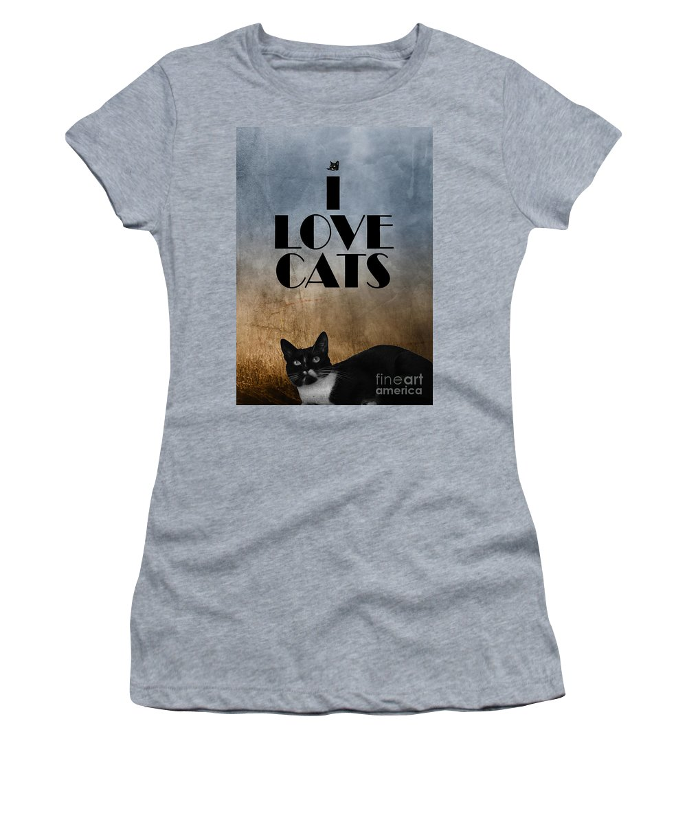 Cat Women's T-Shirt featuring the photograph I Love Cats by Justyna JBJart