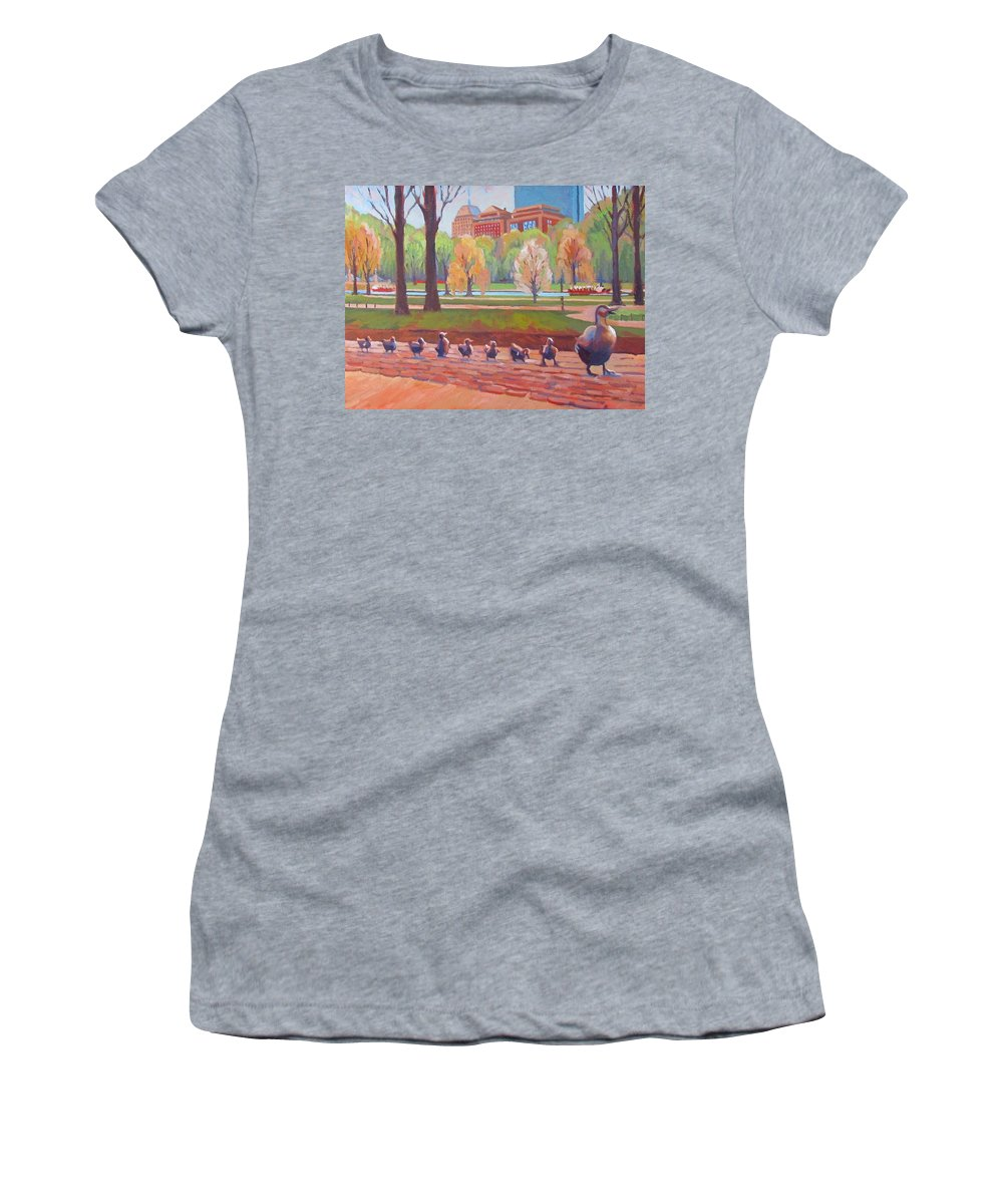 Boston Women's T-Shirt (Athletic Fit) featuring the painting Make Way For Ducklings by Dianne Panarelli Miller