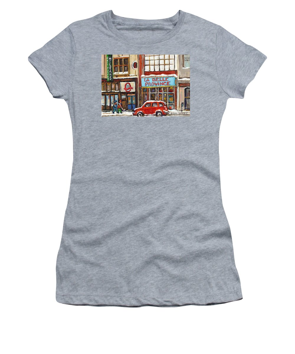 Montreal Women's T-Shirt (Athletic Fit) featuring the painting Mcleans Irish Pub Montreal by Carole Spandau
