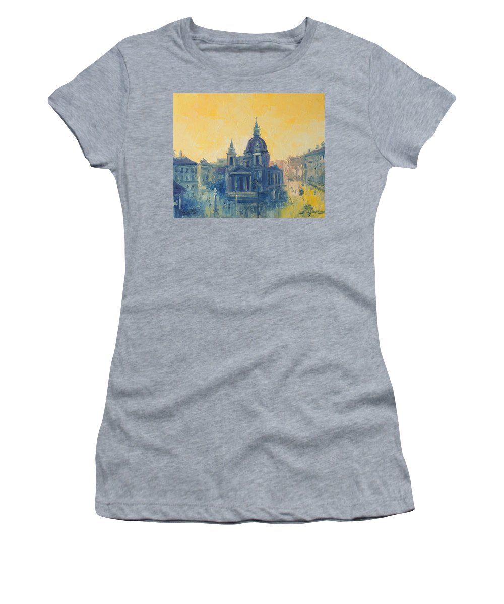 Warsaw Women's T-Shirt featuring the painting Old Warsaw by Luke Karcz