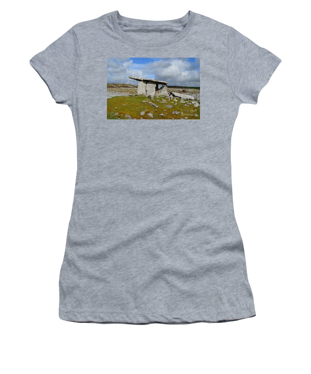 Poulnabrone Portal Tomb Women's T-Shirt featuring the photograph Poulnabrone Portal Tomb by DejaVu Designs