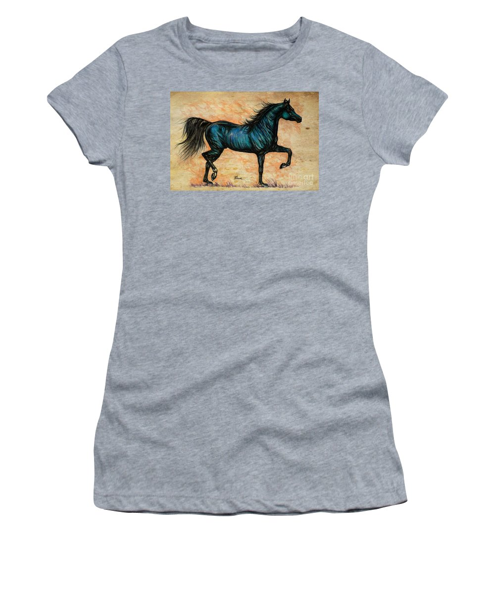 Horse Women's T-Shirt (Athletic Fit) featuring the painting Psychedelic Blue by Angel Ciesniarska